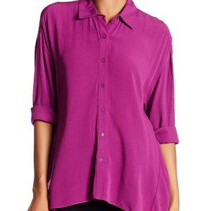 Ro & De Gauze Sharkbite Hem Blouse Top New Purple